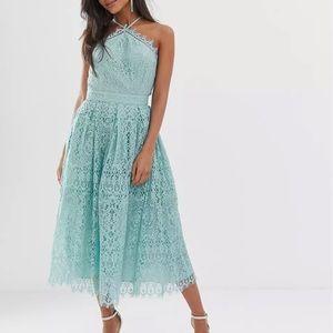 ASOS lace midi dress with pinny bodice